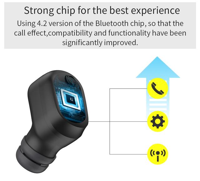 UCOMX U6M Bluetooth Earphone Wireless Earbud with Microphone Mini In Ear Monitor Handsfree Earpiece for iPhone Samsung Huawei Mi