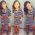 Autumn Fashion Baby Girls Clothing Long Sleeve Striped Cute Girls Party Dress With Sashes Decorate Mother Daughter Dresses