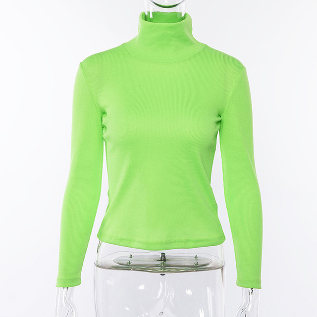 NCLAGEN 2019 Spring Women Turtleneck Ribbed Sweaters Long Sleeve Fluorescent Color Pullovers Slim Solid Color Mujer Warm Sweater