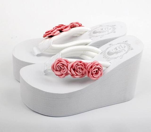 b97bda5767e50b 11cm flip flop wedges heels summer sandals slippers rose shoes women girls  beach shoe light bottom platform handmade flowers