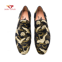 Jeder Schuh men shoes Black gold Chinese style jacquard weave design handmade loafers casual shoes smoking slippers.
