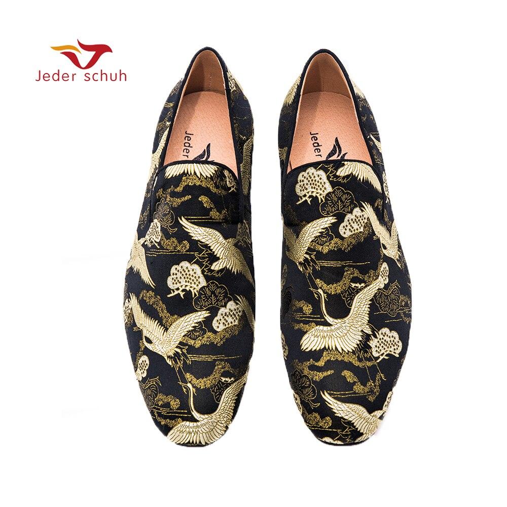 Jeder Schuh scarpe da uomo Nero oro di stile Cinese del tessuto del jacquard di disegno mocassini fatti a mano scarpe casual fumatori pantofole.Jeder Schuh scarpe da uomo Nero oro di stile Cinese del tessuto del jacquard di disegno mocassini fatti a mano scarpe casual fumatori pantofole.
