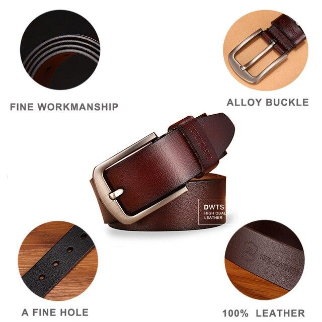 Men's Belt Genuine Leather Strap Luxury Pin Buckle Fancy Vintage Jeans 1