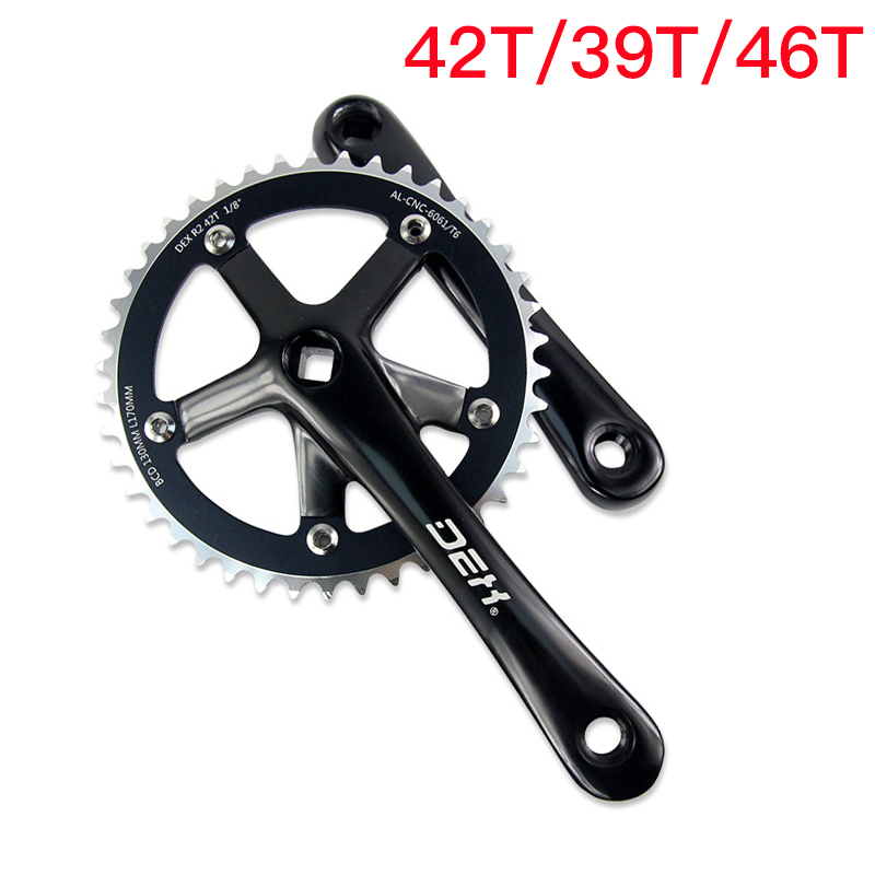 Bicycle Fixed Gear Single Speed Square Hole Chain Wheel Suit 42T 39T 46T 170mm Crank Bike Cycling Aluminum Alloy Crankset Crank west biking bike chain wheel 39 53t bicycle crank 170 175mm fit speed 9 mtb road bike cycling bicycle crank