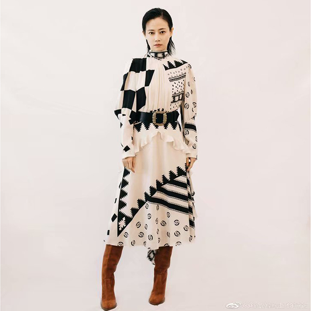 eb0f1ce88afec US $69.99 |HIGH QUALITY New Fashion 2019 Designer Runway Dress Women's Bow  Collar Print Casual Dress-in Dresses from Women's Clothing on ...