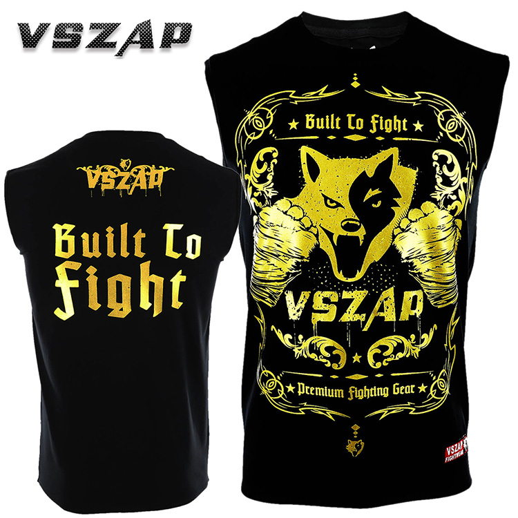 VSZAP Golden Wolf Sleeveless Vest T-shirt Sports Fitness Fight MMA Thai Boxing.