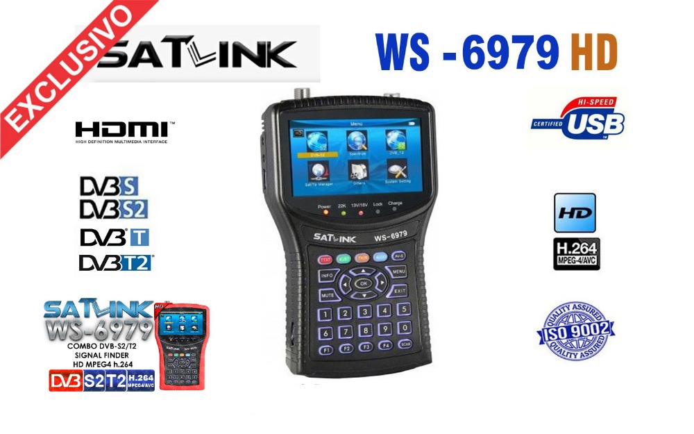 Satlink WS-6979 sat finder DVB-S2&DVB-T2 MPEG4 HD COMBO + Spectrum Satellite Meter Finder ws-6950 hd sat finder ws6979 meter satlink ws 6979se satellite finder meter 4 3 inch display screen dvb s s2 dvb t2 mpeg4 hd combo ws6979 with big black bag