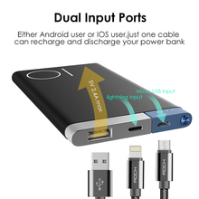Power Bank 5000Mah Portable Charger Dual Input Ports Powerbank External Battery for iPhone Samsung Xiaomi Metal Alloy