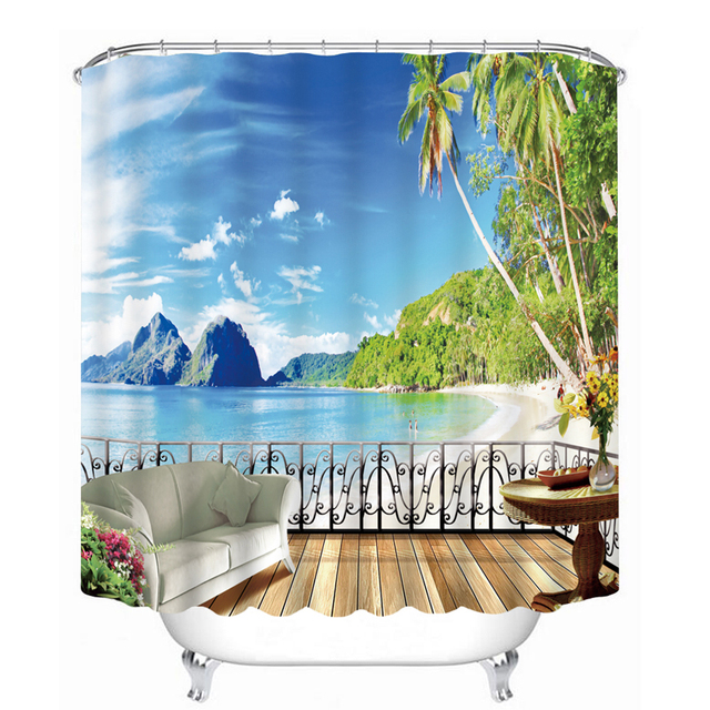 custom shower curtains 3d beautiful beach view pattern bathroom curtains waterproof washable bath curtain bathroom accessories