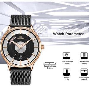 Image 4 - חדש גברים שעון NAVIFORCE יוקרה Creative שעונים למעלה מותג קוורץ שעון זכר ספורט פלדה בנד שעון יד relogio masculino 2019