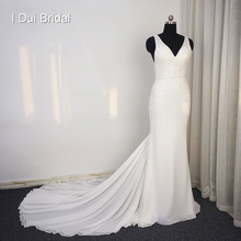 I DUI Bridal Sheath Chiffon Wedding Dress Appliqued Beaded
