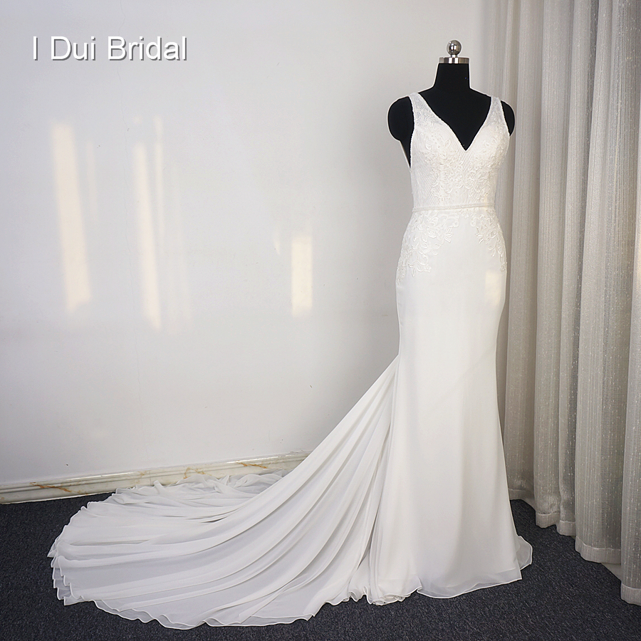 Sheath Chiffon Wedding Dress Appliqued Beaded V Neck High Quality Bridal Gown Real Photo