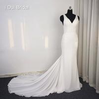 Sheath Chiffon Wedding Dress Appliqued Beaded V Neck High Quality Bridal Gown Real Photo
