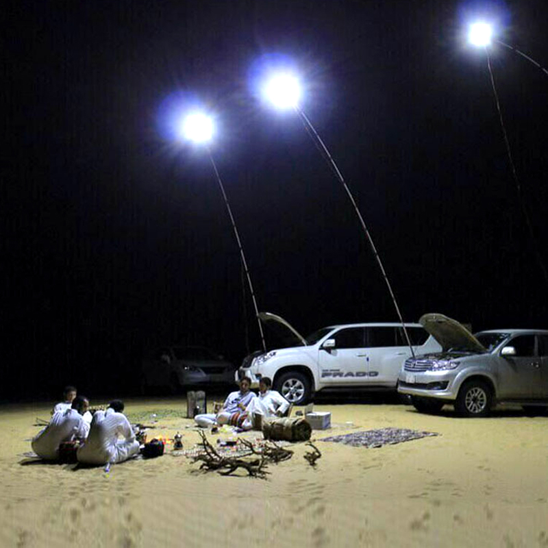 LED Car Rod Light Fishing Lamp Outdoor RF Remote Controller Telescopic Fishing Rod Outdoor Lighting Camping Lamps 5 Meters