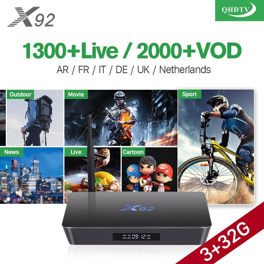3GB 32GB X92 Android 7.1 Smart TV Box 4K Amlogic S912 IPTV Europe Italia IPTV 1 Year QHDTV Accont French Arabic IPTV Top Box стоимость