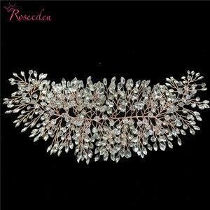 Image 4 - Romantische Rose gold Voller strass kristall Hochzeit Tiara Stirnband 100% Handgemachte Braut Kopfschmuck Haar Zubehör RE3129