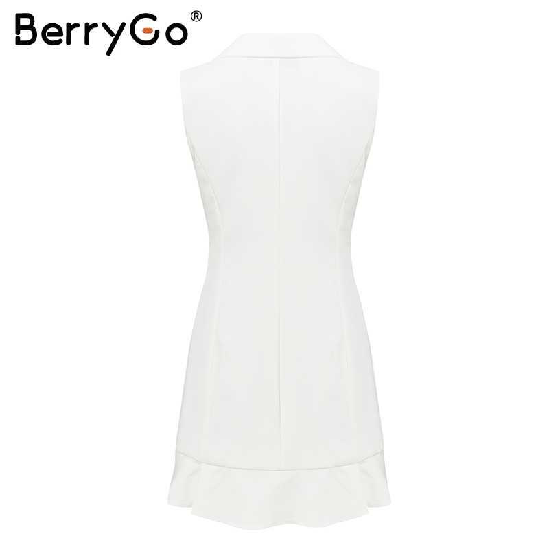 BerryGo элегантное осеннее белое платье-блейзер с v-образным вырезом женское офисное женское платье без рукавов зимний халат жилет Короткое платье женское