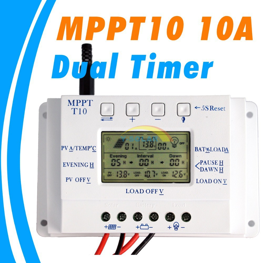 10a Solar Charge Regulator T10 12v 24v Auto Panel Controller Pwm Mode 6a Small Control Ce For Lighting System Lcd Display Light And Dual Timer In Controllers From Home