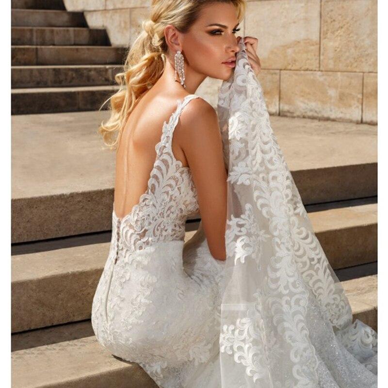 Robe de mariée Boho 2019 à bretelles Spaghetti sirène Appliques dentelle dos nu Court Train robe de mariée robes de mariée