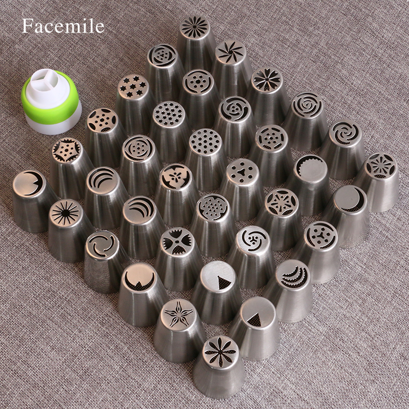 36Pcs Stainless Steel russian piping tips Pastry Nozzles Cake Decorating dessert decorators with 1 Coupler 53044
