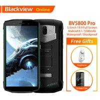 Blackview BV5800 Pro Original 5.5 Mobile Phone IP68 Waterproof 2GB+16GB Quad Core 5580mAh 18:9 Wireless Charging 4G Smartphone