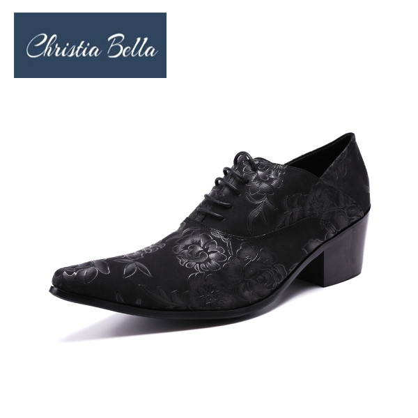 a9ad05676b US $70.29 29% OFF Christia Bella Handmade Shoes Men's Fashion Genuine  Leather Oxford Men's Formal Wedding Party Dress Shoes Flower Men High  Heels-in ...