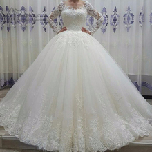 Thinyfull 2019 Vestido de Noiva Puffy New Arrival Long Sleeve Wedding Gowns Lace Ball Gown Dresses Sequin Bride Dress