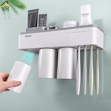 BR Toothbrush Holder with Cups Bathroom Accessories Storage Organizer Drainer Rack Multifuctional Case