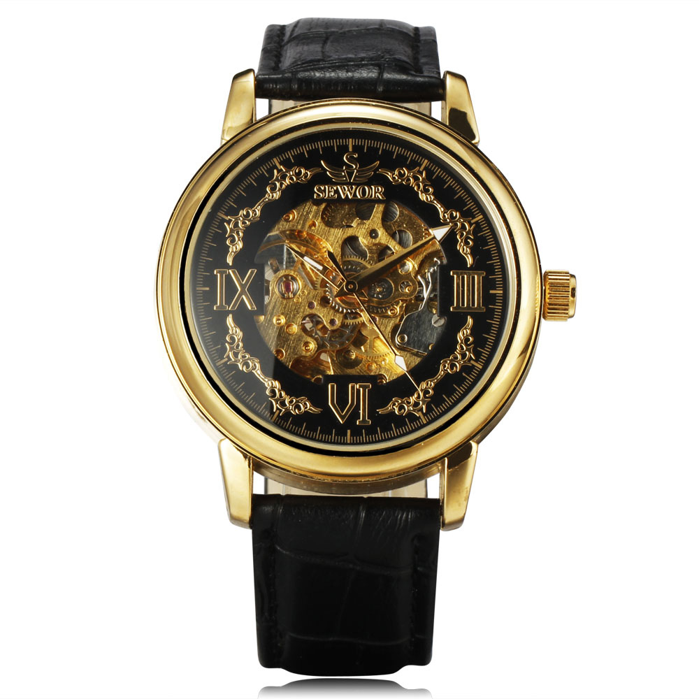 2016 Sewor Men s Top Luxury Clock Die Casting Gold Case Skeleton Dial Automatic Mechanical Leather