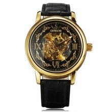 2016 Sewor Hommes de Top De Luxe Horloge Die-Casting Boîtier en Or Cadran Squelette Automatique Mécanique Bracelet En Cuir Mâle Cadeau poignet Montres