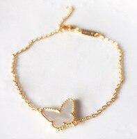 OL Fashion Cute Butterfly Bracelet Bezel Setting White Black Green Blue Red Shell Charms Gold Bracelet