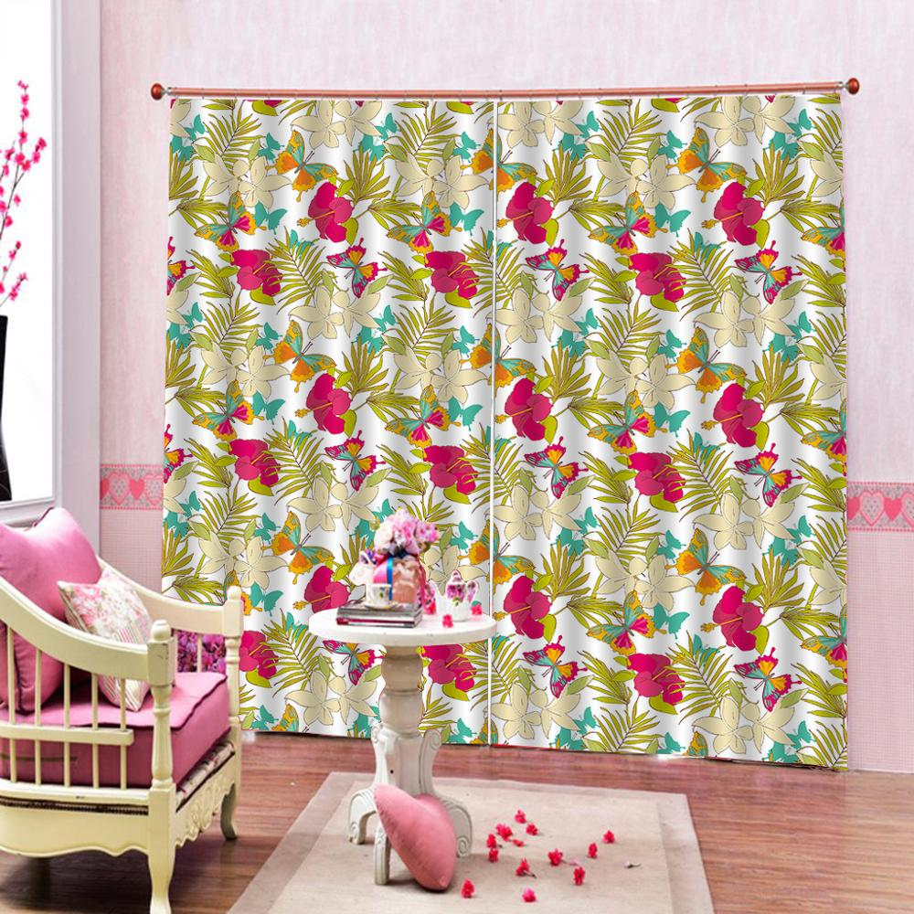 flower Curtain office Bedroom 3D Window Curtain Luxury living room decorate Cortina(China)
