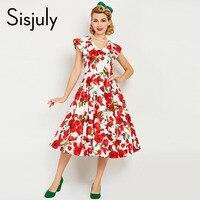 Sisjuly Women Vintage Dress Pin Up Summer Red Floral Print Sleeveless Party Dresses Elegant 1950s Vintage