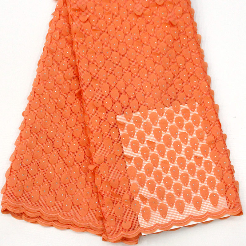 plain orange soft Hand cut french lace solid color embroidery African tulle fabric with lots of