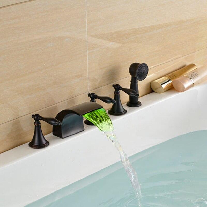 Oil Rubbed Black LED Color Changing Bathtub Faucet Deck Mount 5pcs 5 ...
