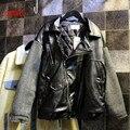 Осень новых мужчин сшивание рукава куртки с длинными рукавами случайные кожаная куртка женщин