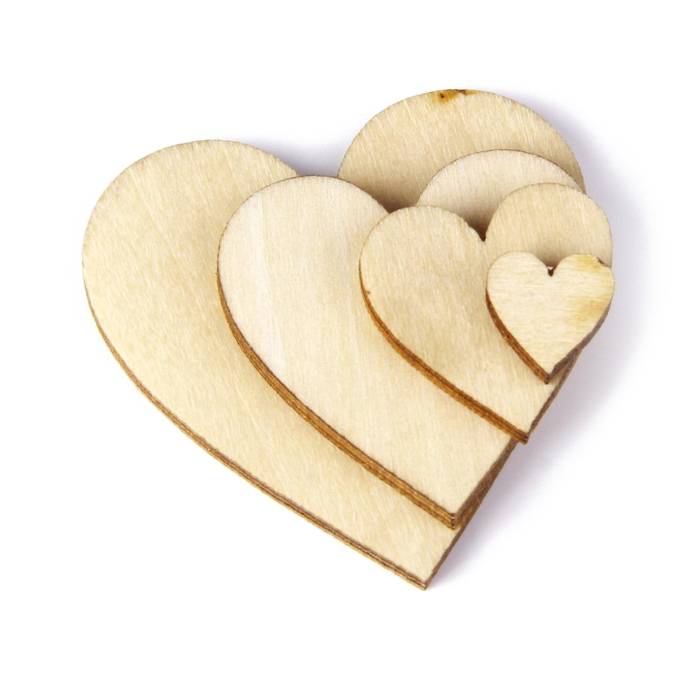 Cheap arts and crafts supplies - 100pcs Wood Nature Heart Love Craft Diy Home Wedding Decoration Art Decorative Flatback Wood Craft Supplies