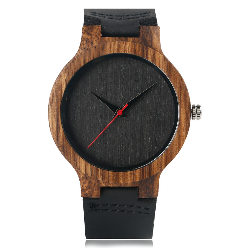 Hand-made Mens Wooden Bamboo Quartz Watch Black Genuine Leather Watchband Simple Unique Modern Wristwatch Gift for Male Female managing projects made simple