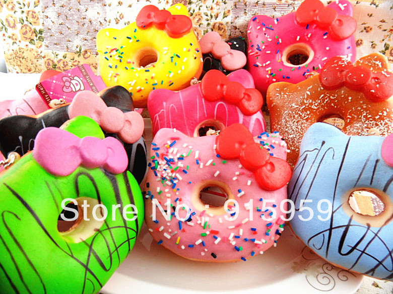 Summer Squishy Tag : Aliexpress.com : Buy 10 cm jumbo hello kitty donut squishy Cell Phone strap Charm squishies buns ...