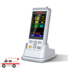 3.5inch color TFT handheld Vital Signs Monitor Neonate use Vital Sign Monitor Meansing Spo2+NIBP+Temperature Patient Monitor abpm50 ce fda approved 24 hours patient monitor ambulatory automatic blood pressure nibp holter with usb cable