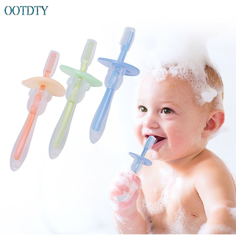 Hot Selling New Baby Infants Kids Soft Safe Bendable Teether Training Teeth Toothbrush Brush #330