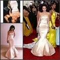 Alta calidad Kendall Jenner Celebrity largo sin tirantes sin respaldo alfombra roja se viste 2016