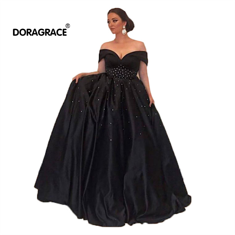 Doragrace robe de soiree Off Shoulder Sleeveless A-Line Long Prom Gowns Womens Party Dresses