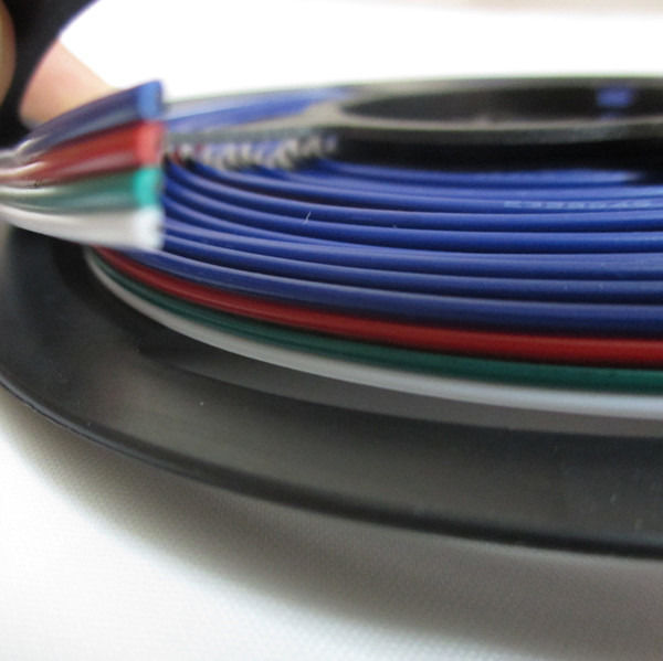 100m/lot 4pin RGB+black/RGB+white cable wire for 5050 2801 LED RGB strip 22AWG 4 colors wire, 4pin Tinned copper extension wire