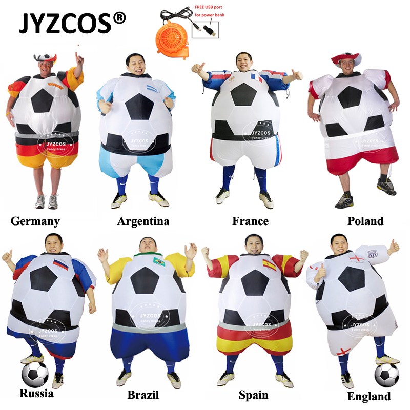 JYZCOS World Cup Russia Football Player Inflatable Costume Ball Suit Halloween Costume Adults Soccer Costume Fancy Dress