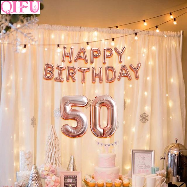 QIFU 50th Birthday Balloons Anniversary Rose Gold Balloon Number Figure 50 Years Party Decorations Women Favors Supplies