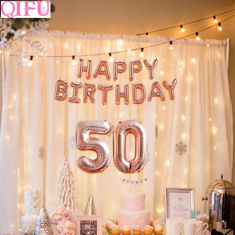 Qifu Happy 50th Birthday Decorations Rose Gold Balloons Birthday 50 Birthday Decor 50 Years Birthday Party Decorations Adult Party Diy Decorations Aliexpress