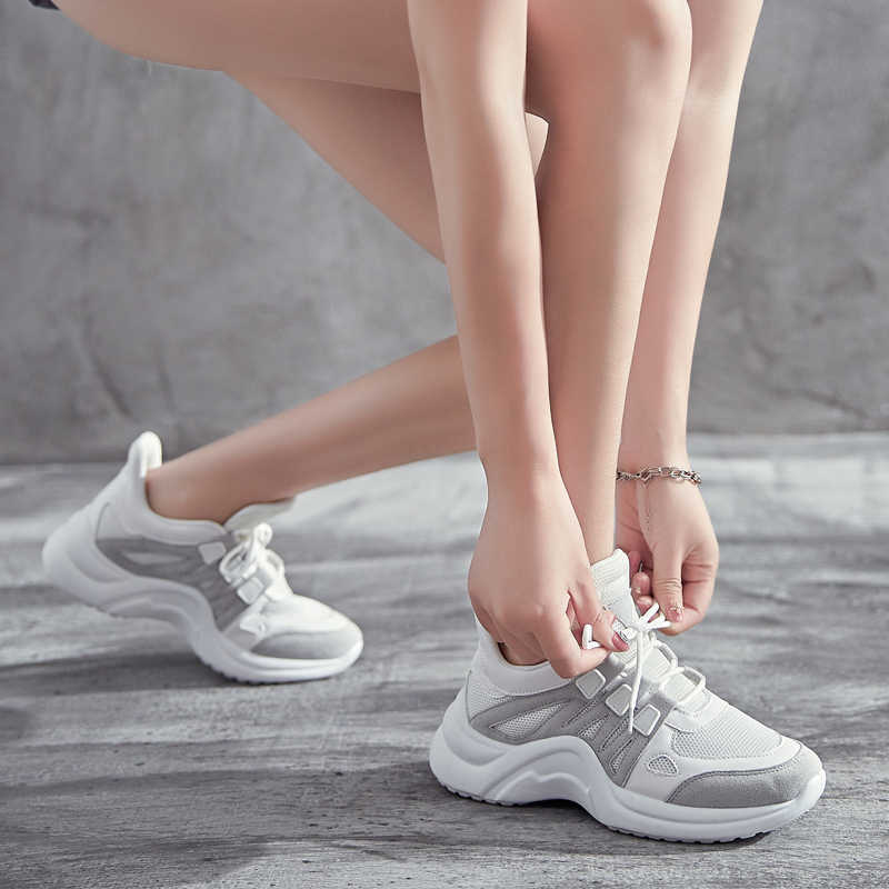LZJ/женские кроссовки, увеличивающие рост; Zapatillas Sujer; новые женские кроссовки из искусственной кожи; большие размеры 35-42; обувь на платформе