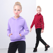 New Velvet Hoodies Sweatshirts Set Suit Kids Girls Tacksuit Warm Winter Purple Children Sports Suits Two Piece Outfit