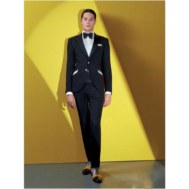 Formal Bespoke Black Mens Tailored Wedding Suits For Groomsmen ...
